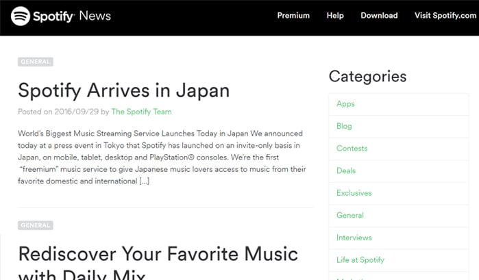 spotify news wordpress site