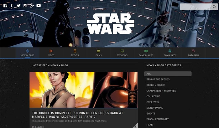 star wars wordpress site