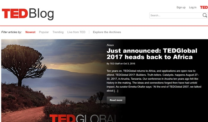 ted blog wordpress site