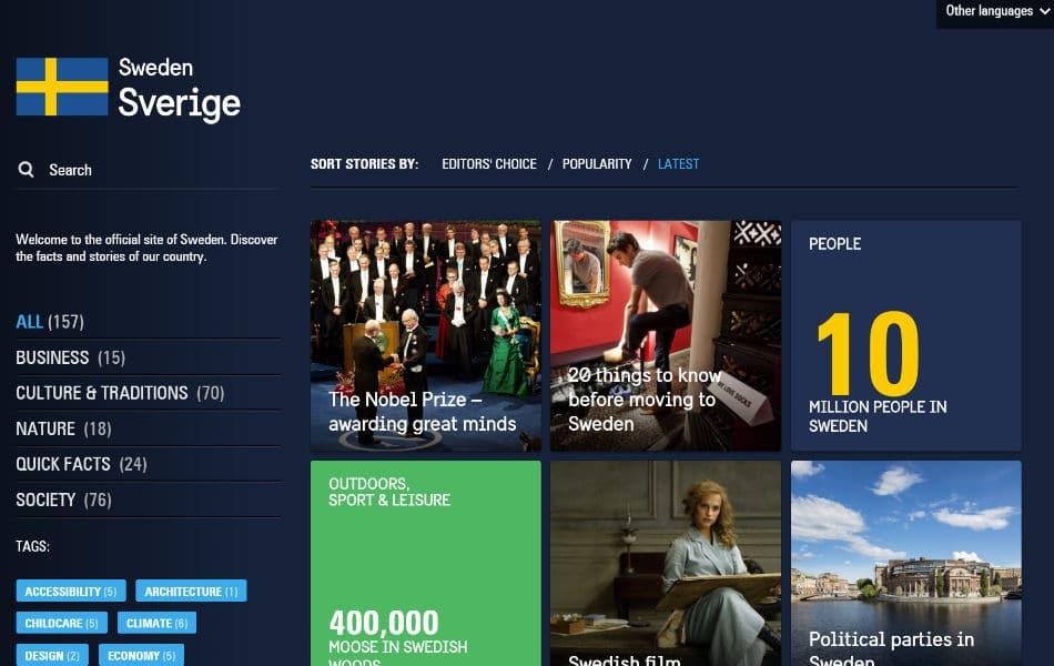 De officiële website van Zweden