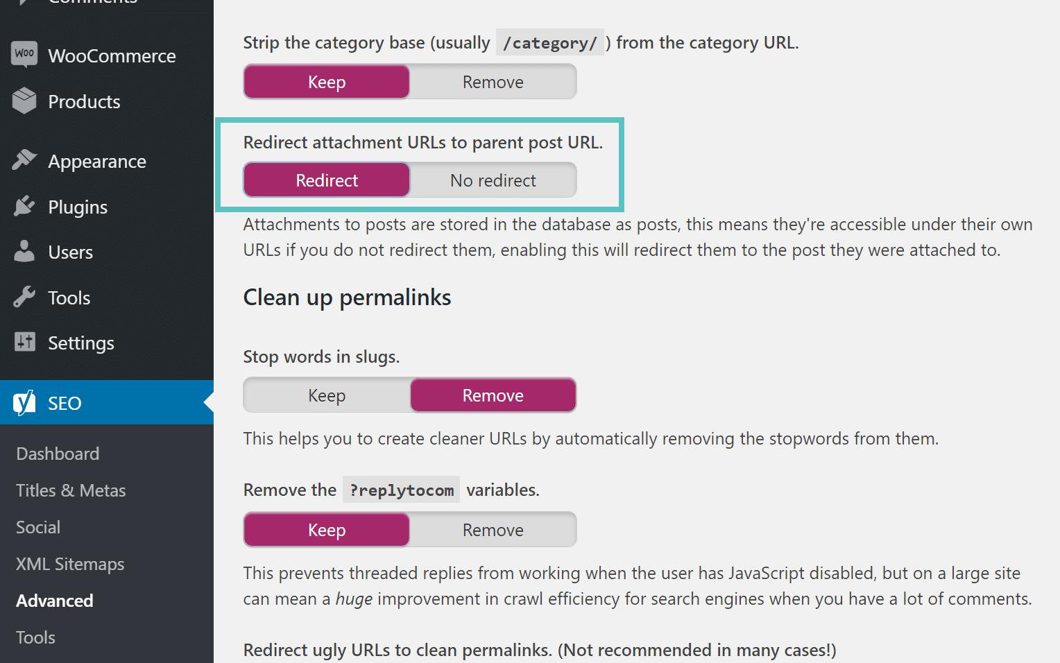 Redirect bijlage URLs naar bovenliggende URL