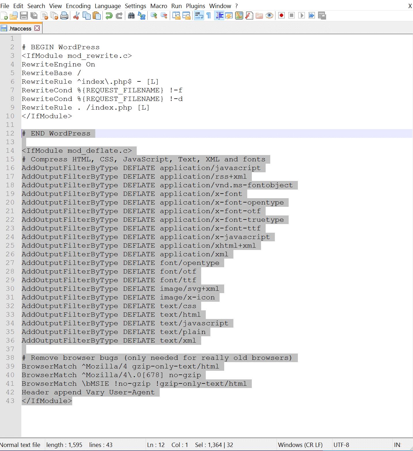 Voorbeeld van de GZIP Apache .htaccess code