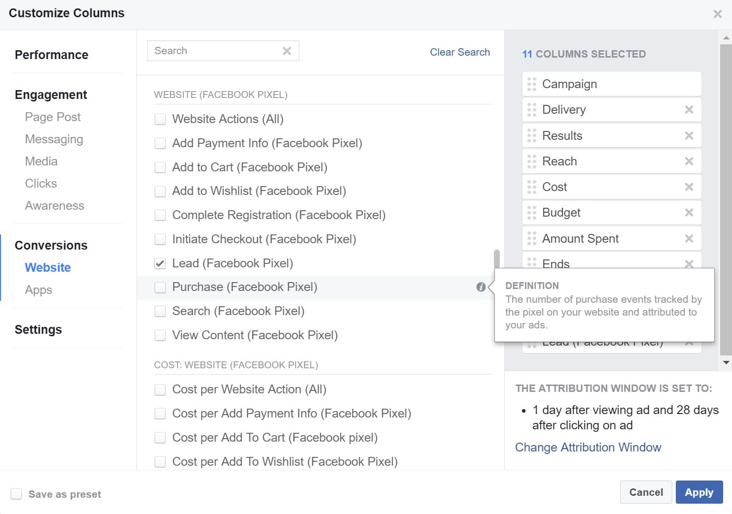 Facebook Ads Manager Aankoop Kolom