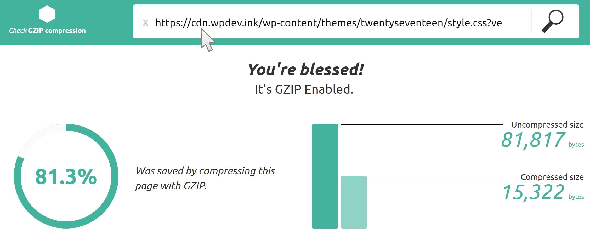 Check GZIP Compression tool met CDN
