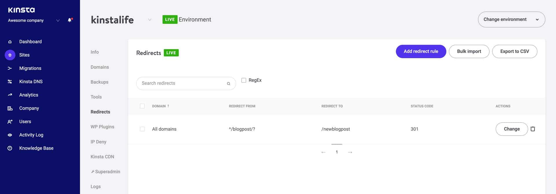 Beheren van redirectregels in het MyKinsta dashboard.