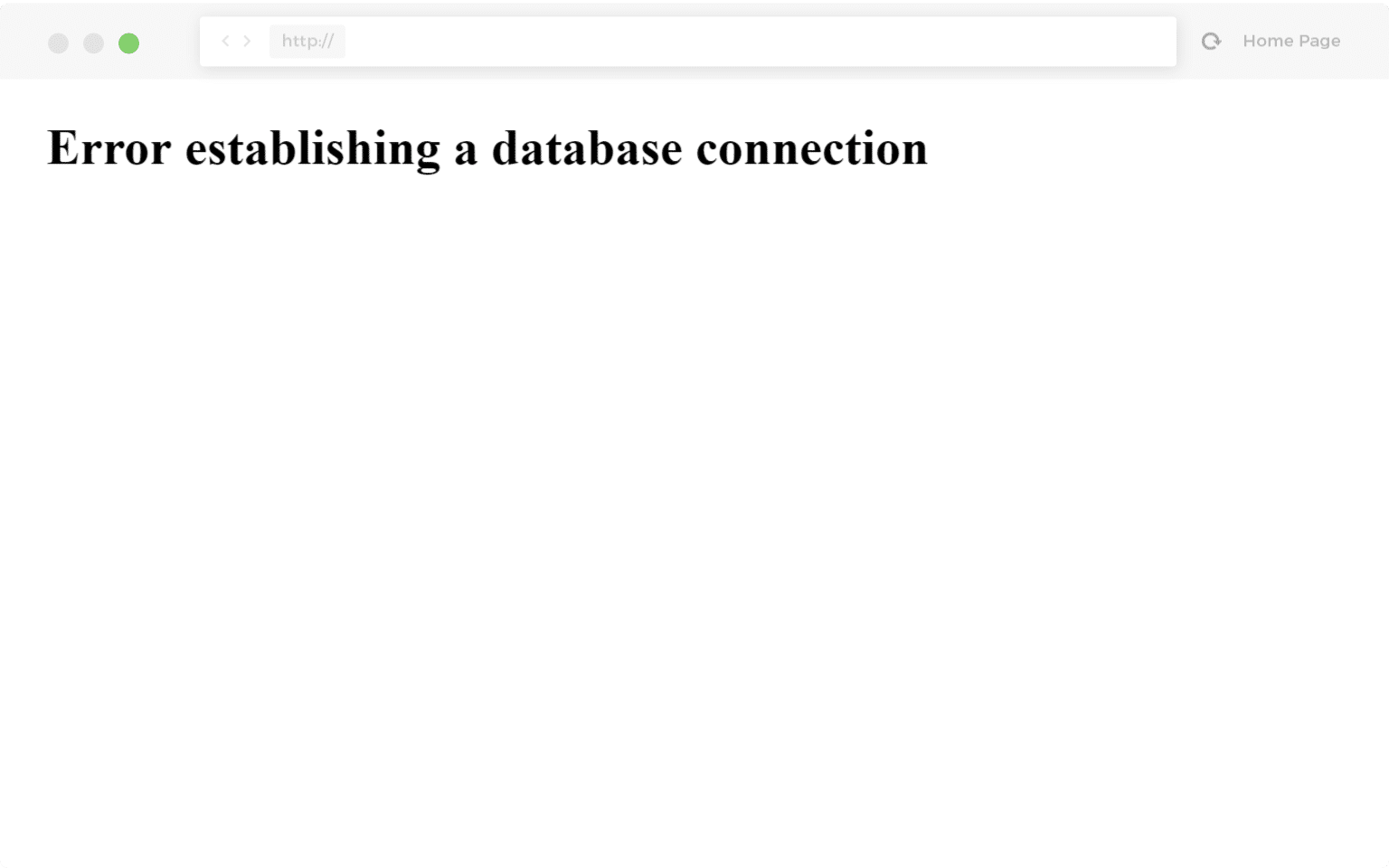 Voorbeeld van een fout bij het maken van een databaseverbinding