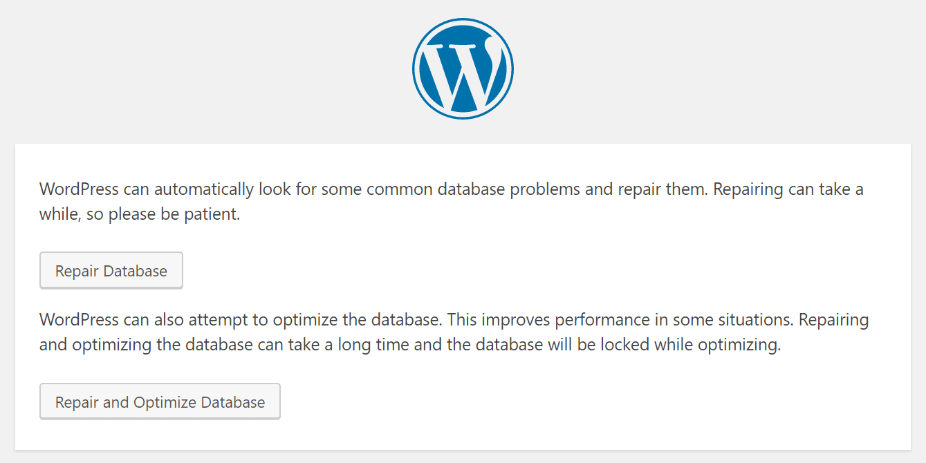 WordPress database reparatie