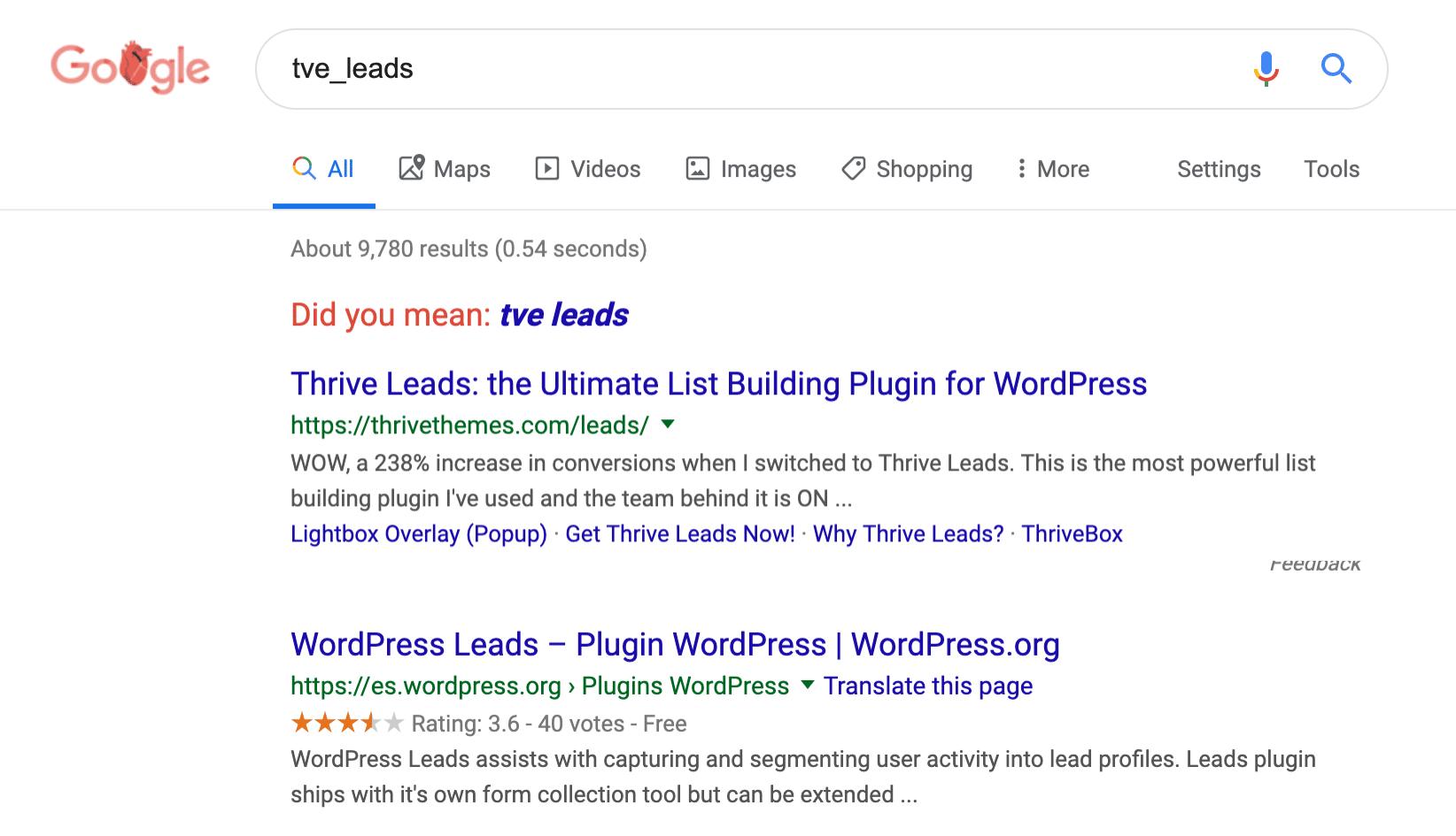 WordPress tabel Google zoekopdracht