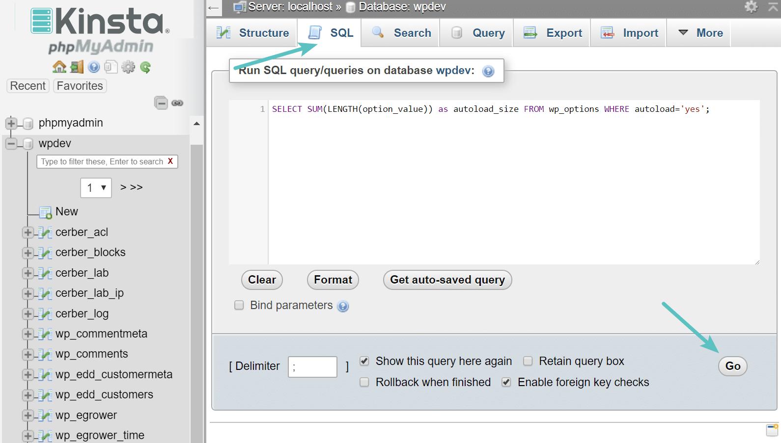 autoload grootte verzoek in phpMyAdmin
