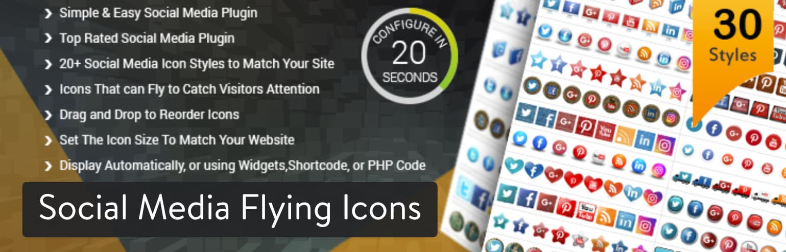 Social Media Flying Icons | Floating Social Media Icon WordPress-plug-in