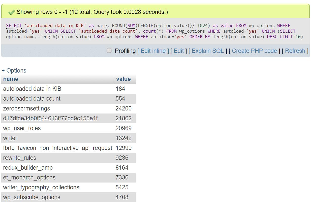 Gedetailleerde autoloaded data MySQL code