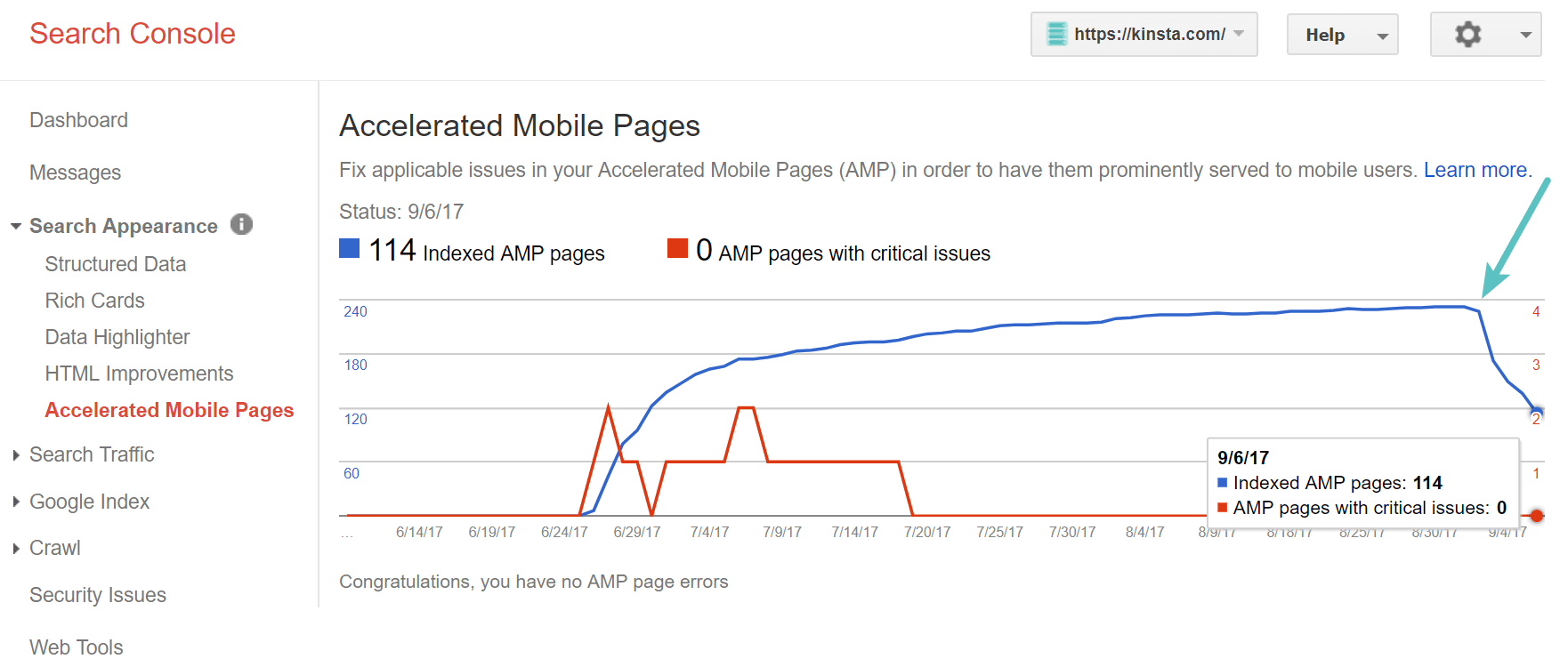 Google Search Console - Google AMP-verwijdering