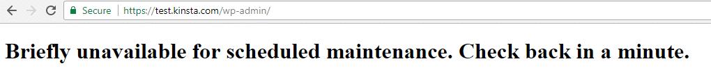 Voorbeeld van WordPress in onderhoudsmodus