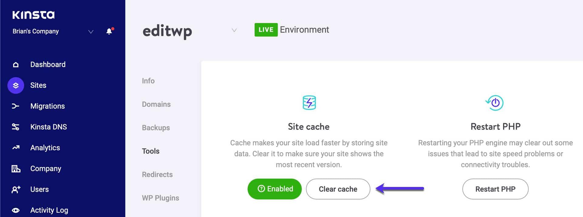 De WordPress cache legen
