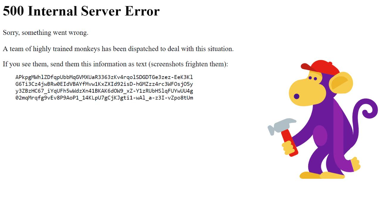 '500 Internal Server Error'-foutmelding van YouTube