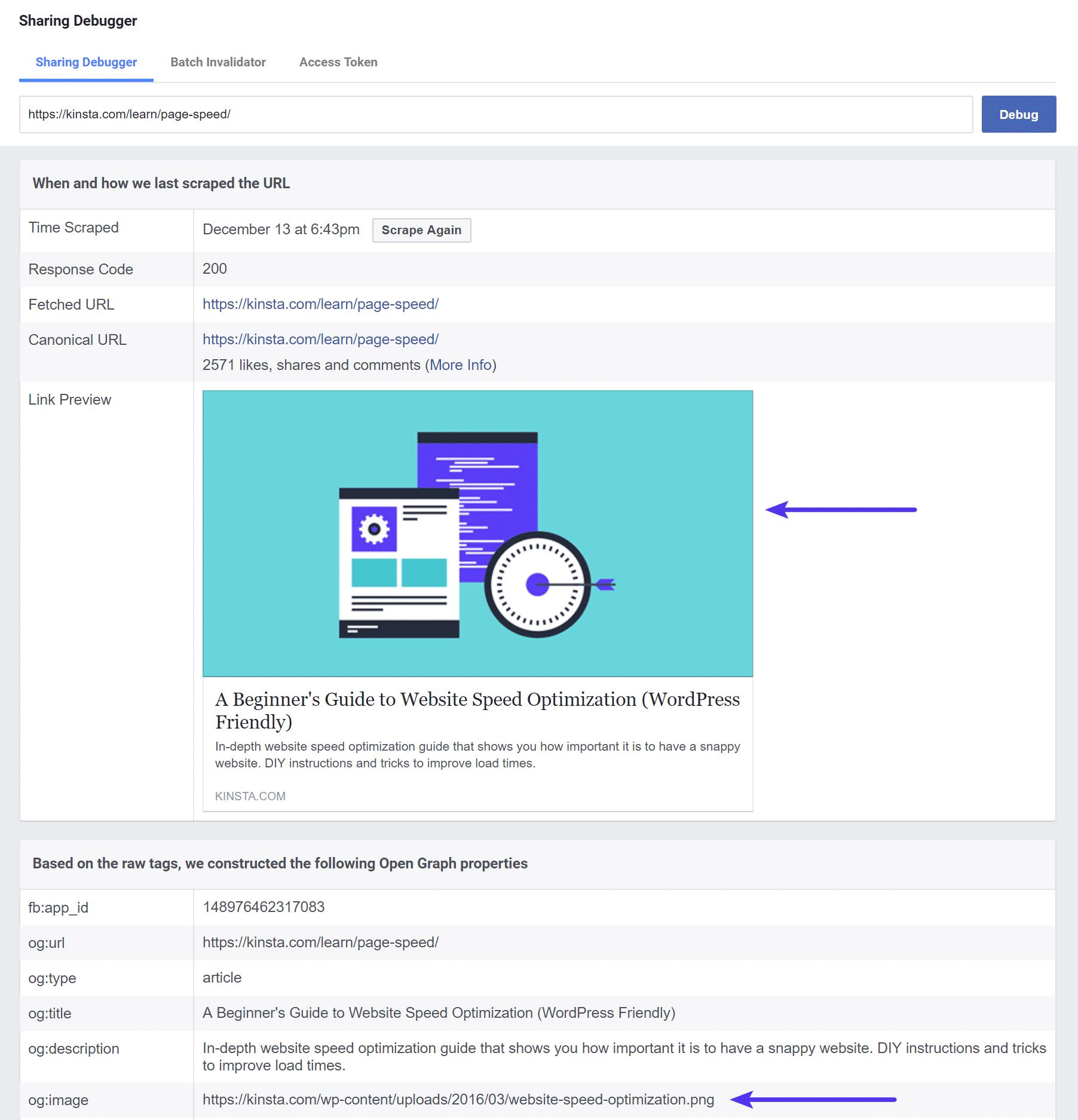 Oude afbeelding en URL in de Facebook Debugger