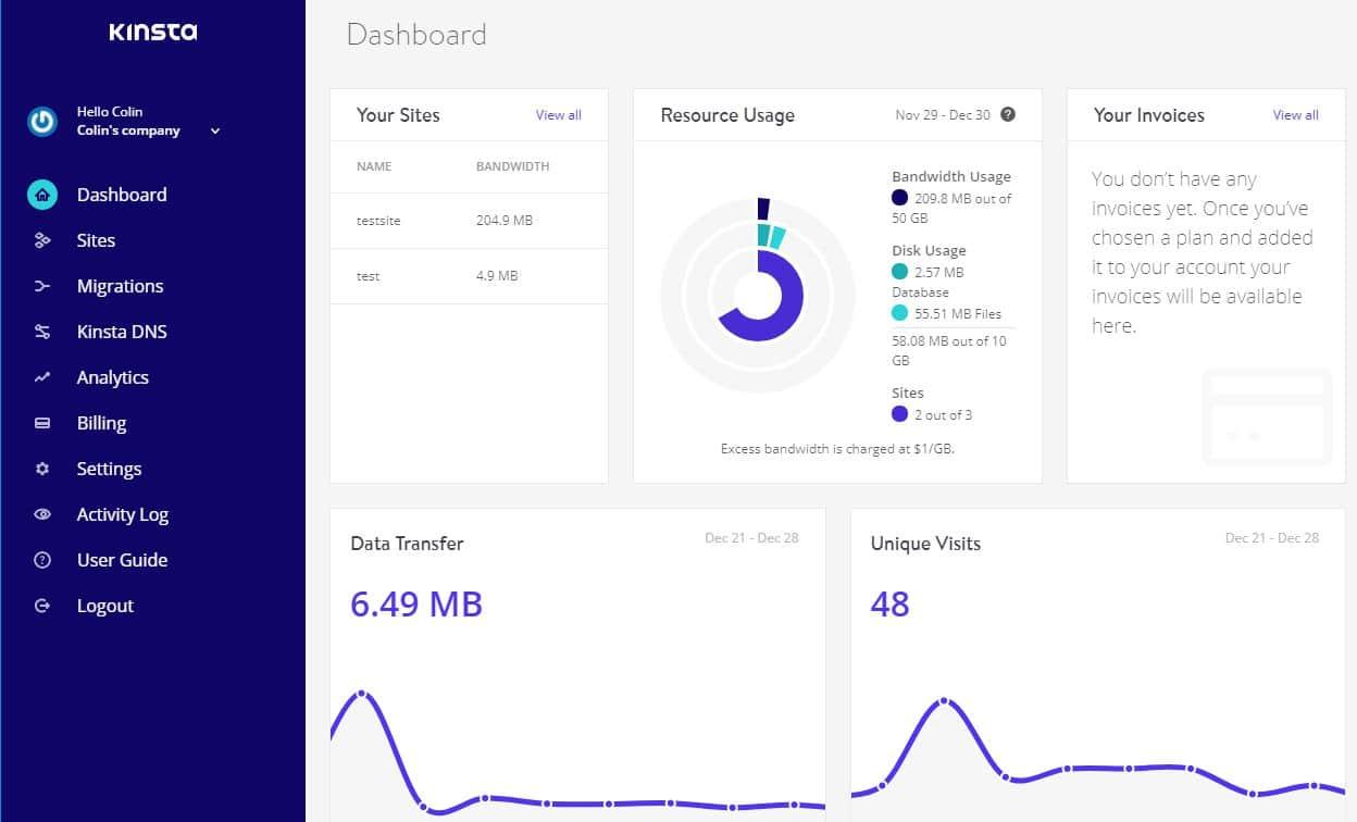 Het hoofddashboard van Kinsta, een alternatief voor cPanel