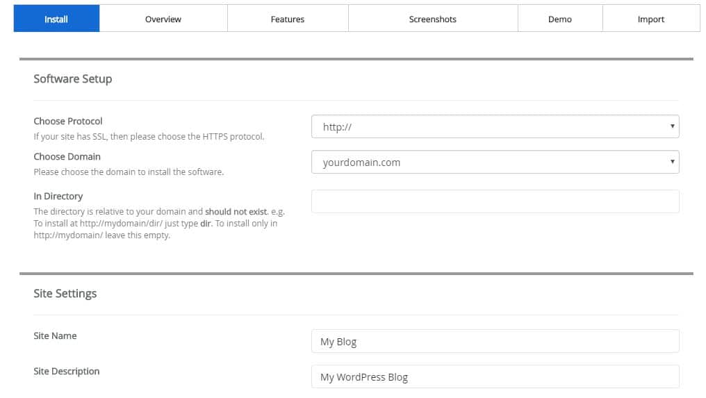 De installatiewizard van WordPress cPanel