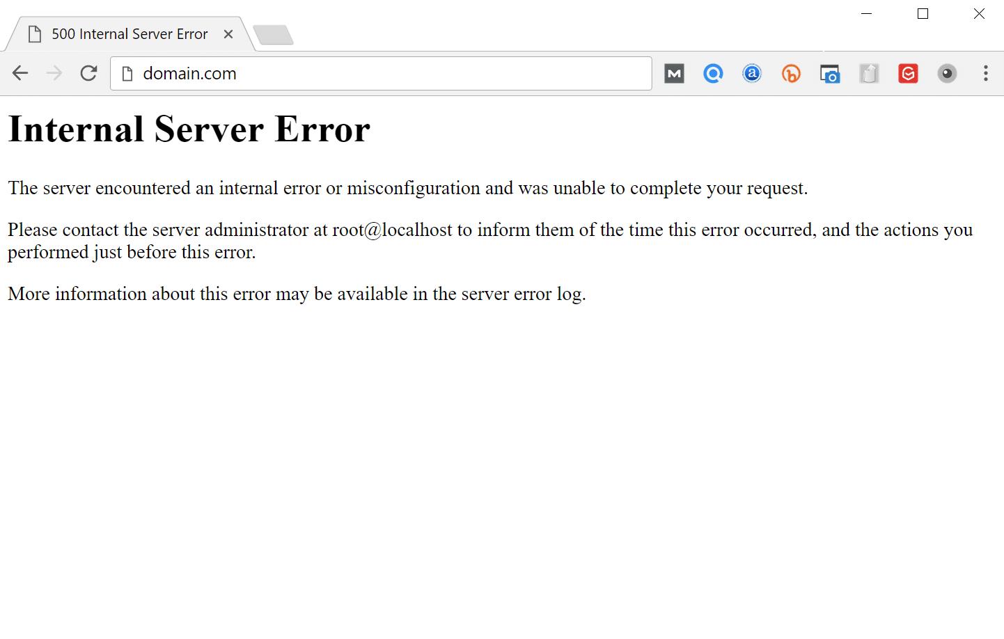 'Interne server'-foutmelding