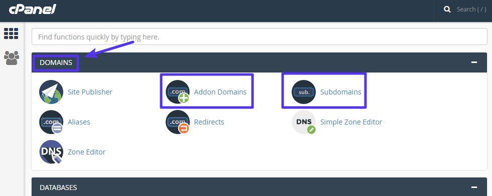 Een nieuw domein/subdomein toevoegen met cPanel