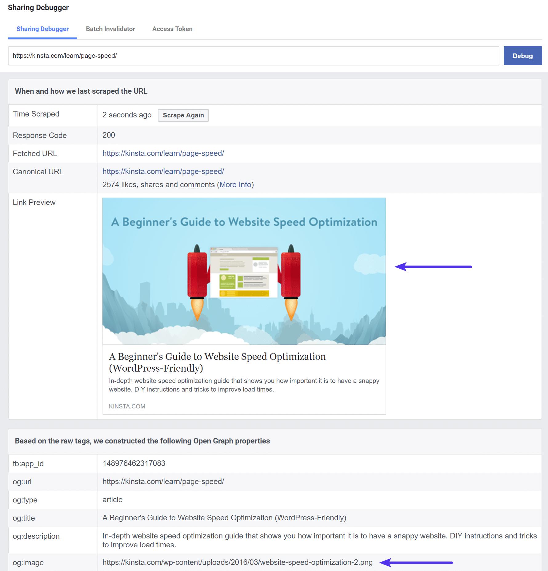 De nieuwe afbeelding in de Facebook Debugger tool