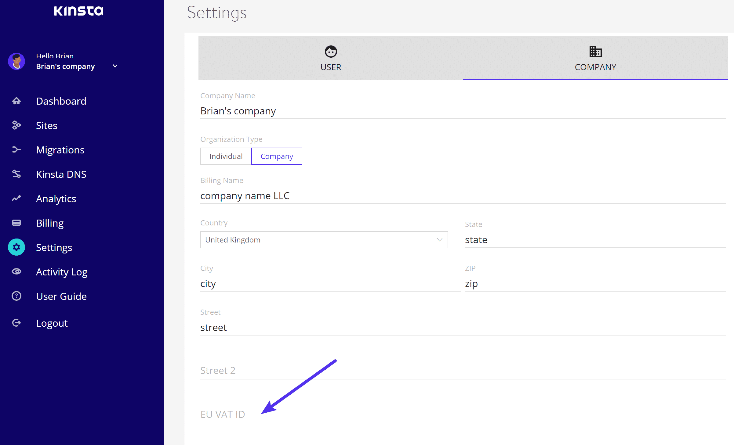 MyKinsta Europees Btw-nummer