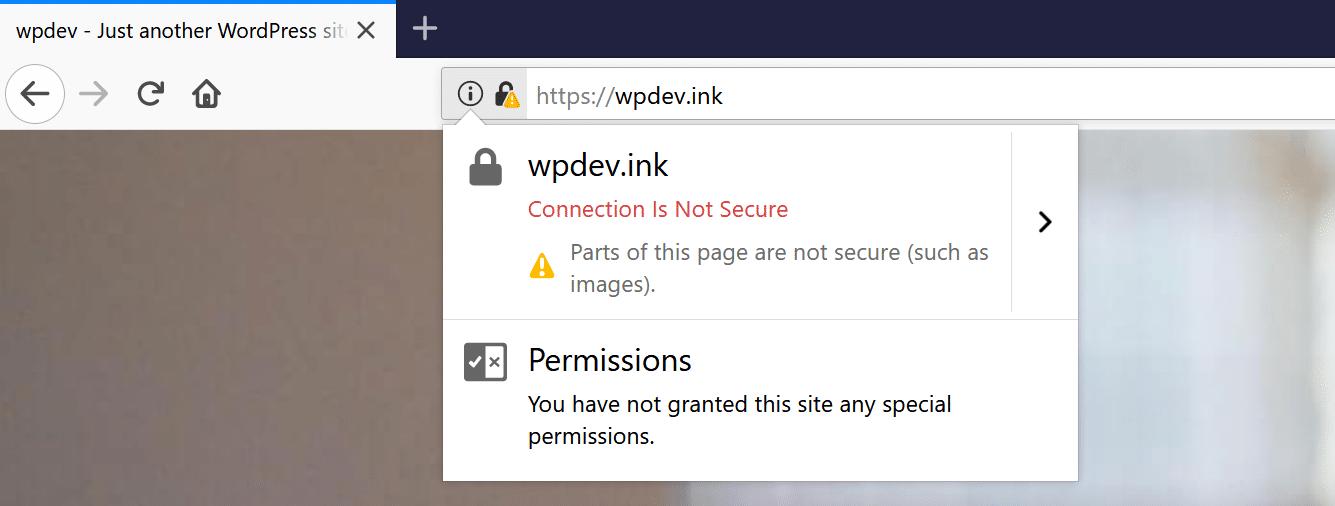 Firefox gemengde inhoud waarschuwingsvoorbeeld