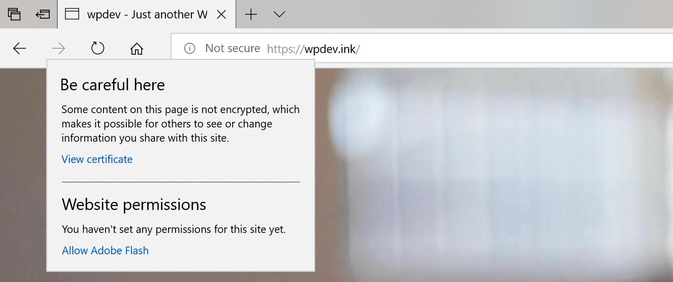 Microsoft Edge gemengde inhoud waarschuwingsvoorbeeld