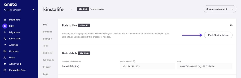 De WordPress staging omgeving live pushen.