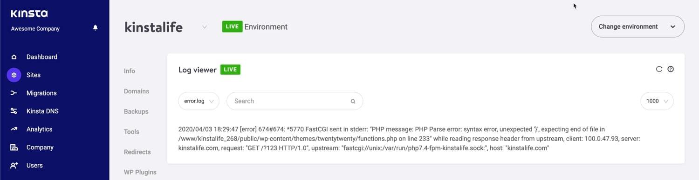 PHP foutmeldingen bekijken in MyKinsta.