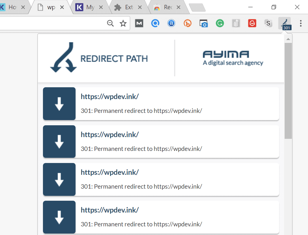 Redirect Path extensie