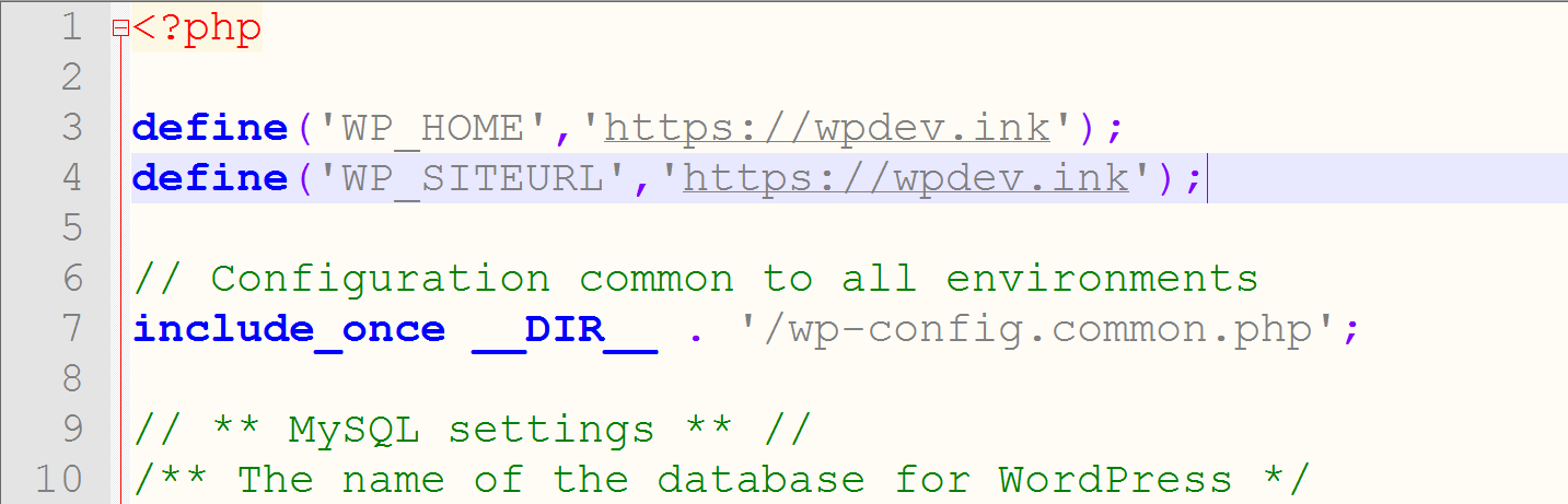 Verander de wordpress url in wp-config.php