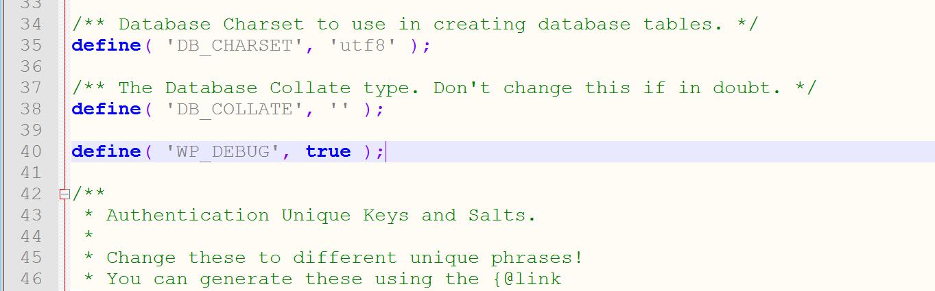 WP_DEBUG voorbeeld