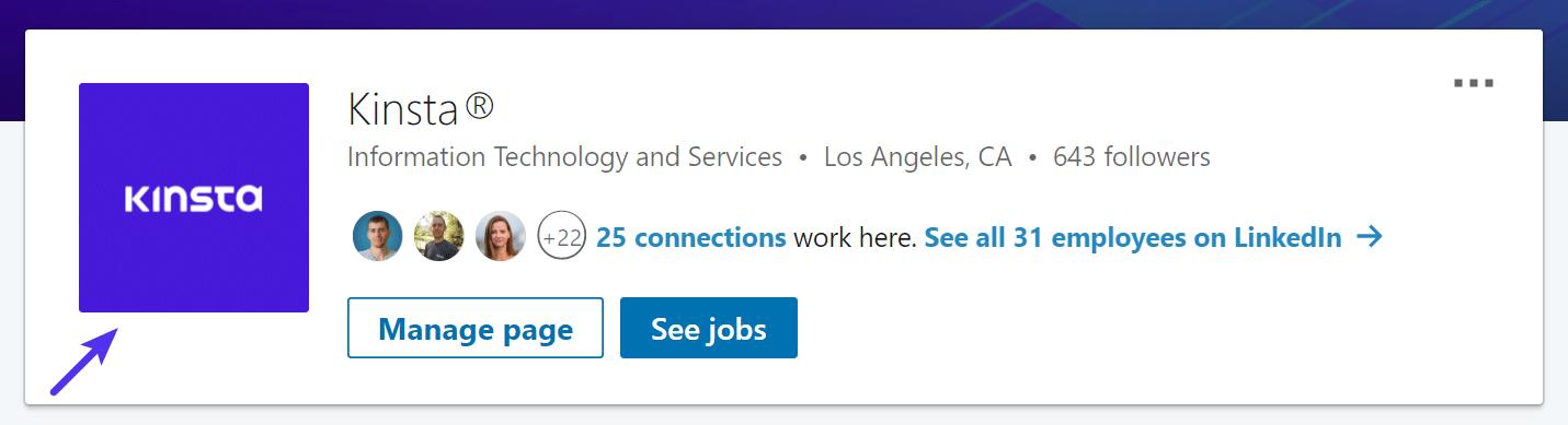 Bedrijfslogo op LinkedIn