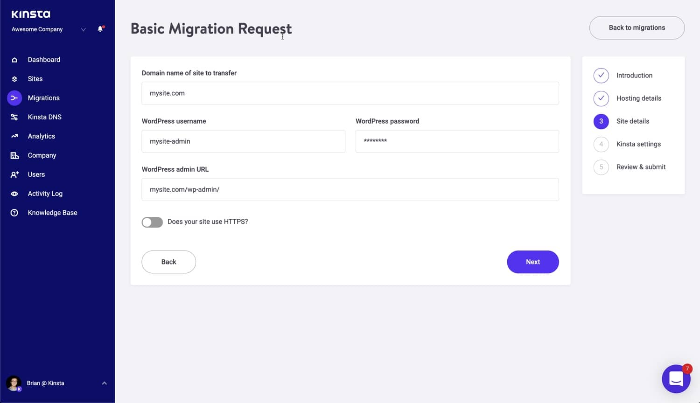 Sitegegevens migratie.