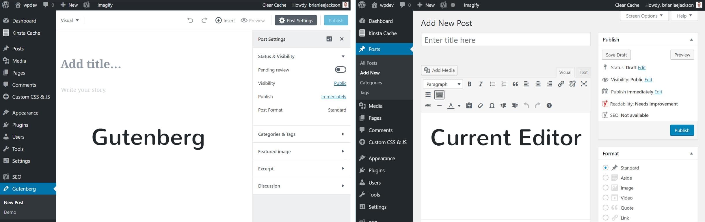 Vergelijk Gutenberg en de huidige editor