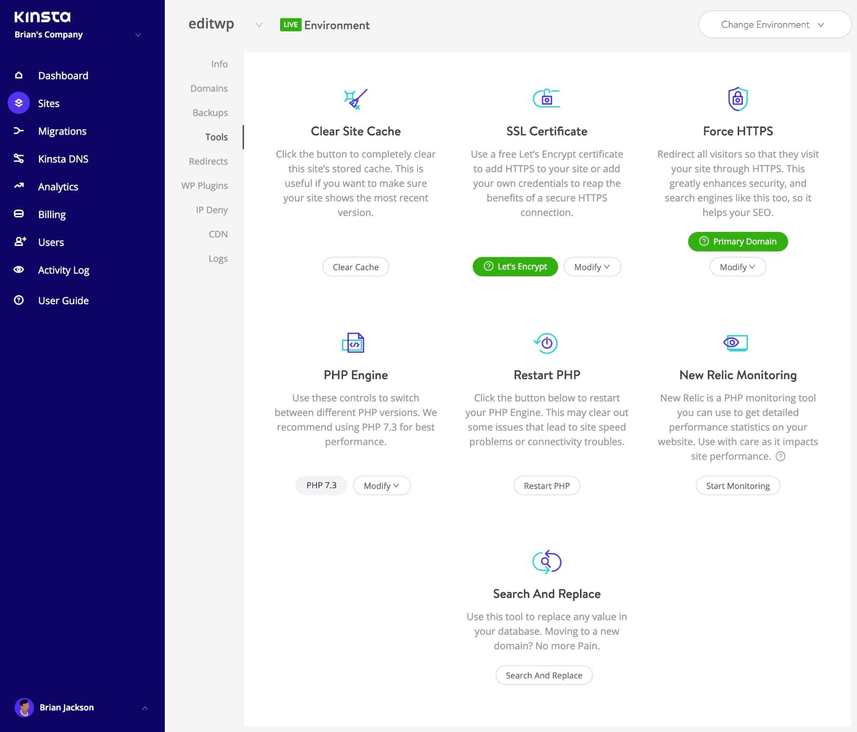 WordPress site tools