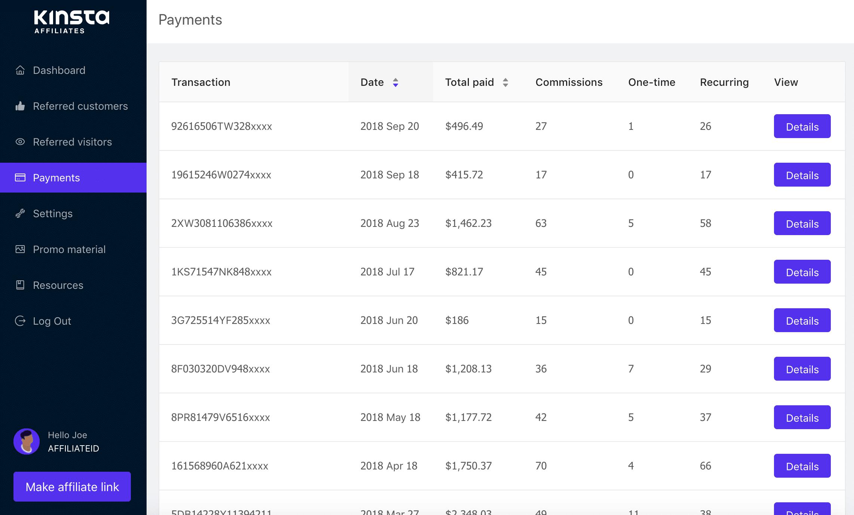 Kinsta affiliate systeem betalingen