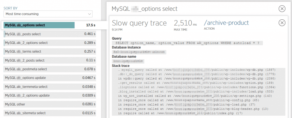 New Relic langzame aanvragen in wp_options tabel