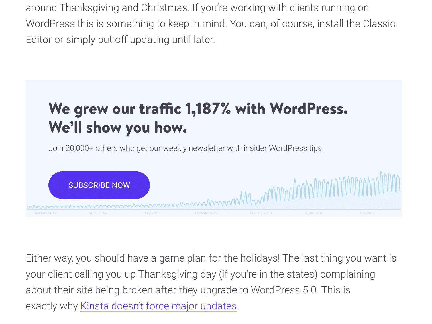Kinsta blog e-mail aanmeldformulier