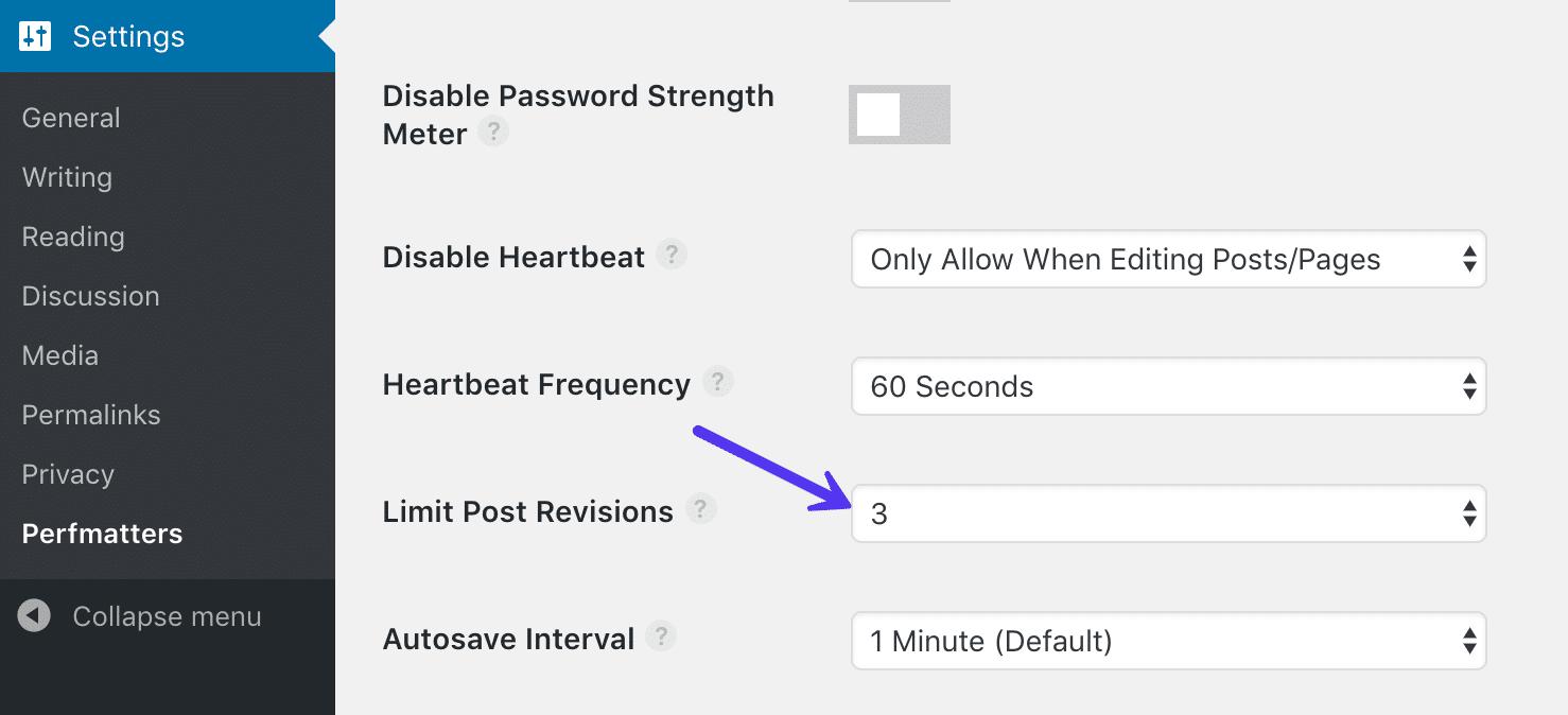 Limiteer het aantal post revisies met Perfmatters plugin