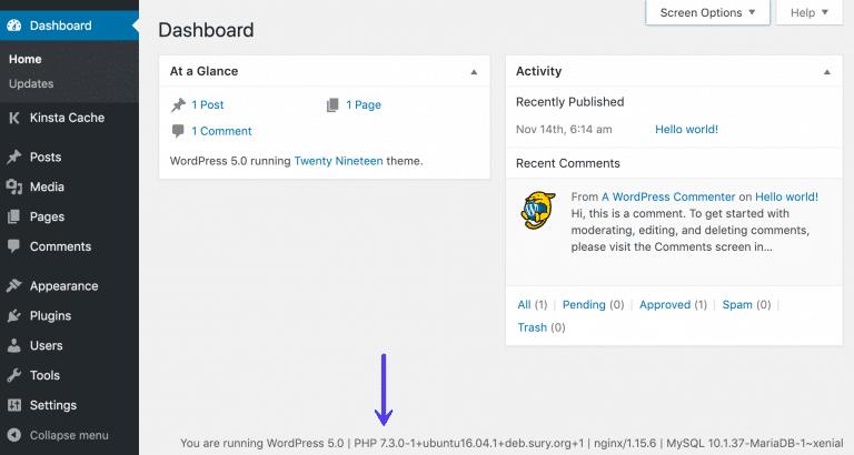 PHP-versie controleren in WordPress