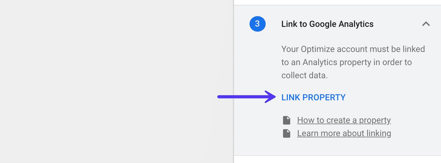 Google Optimize – Link Google Analytics Property