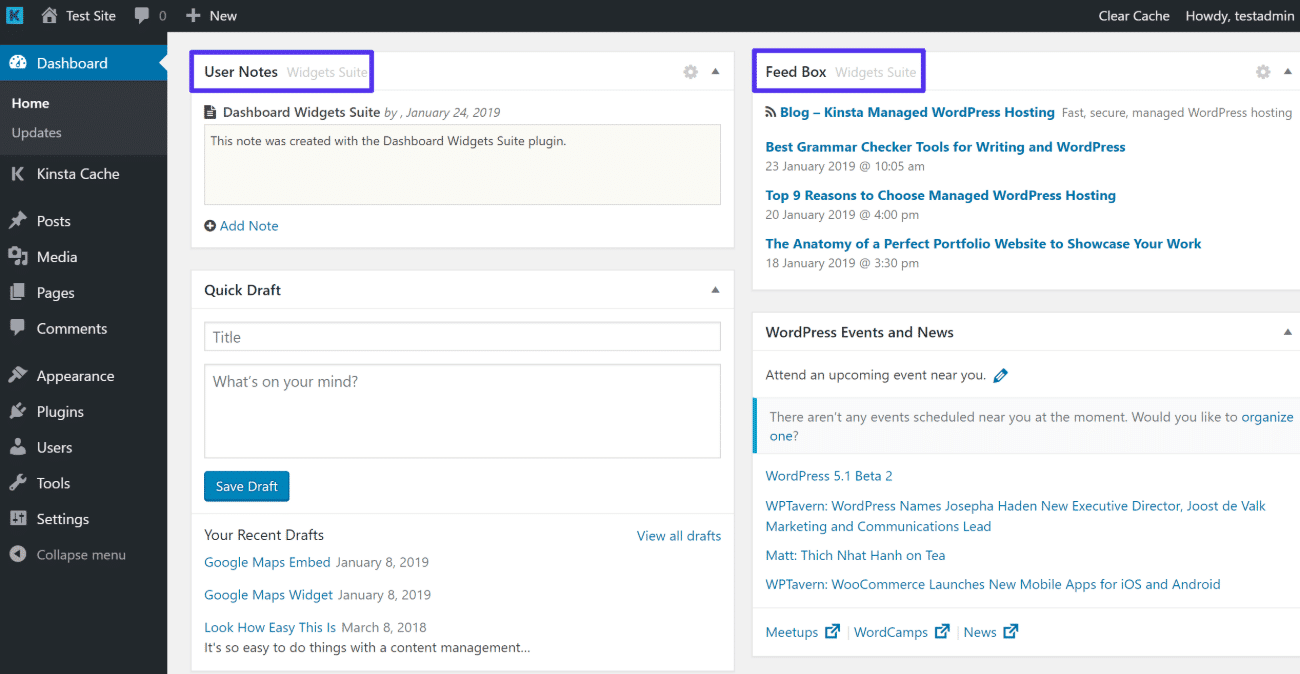 Voorbeeld van widgets vanuit Dashboard Widgets Suite