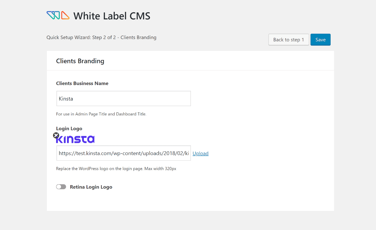 White Label CMS installatiewizard stap 2