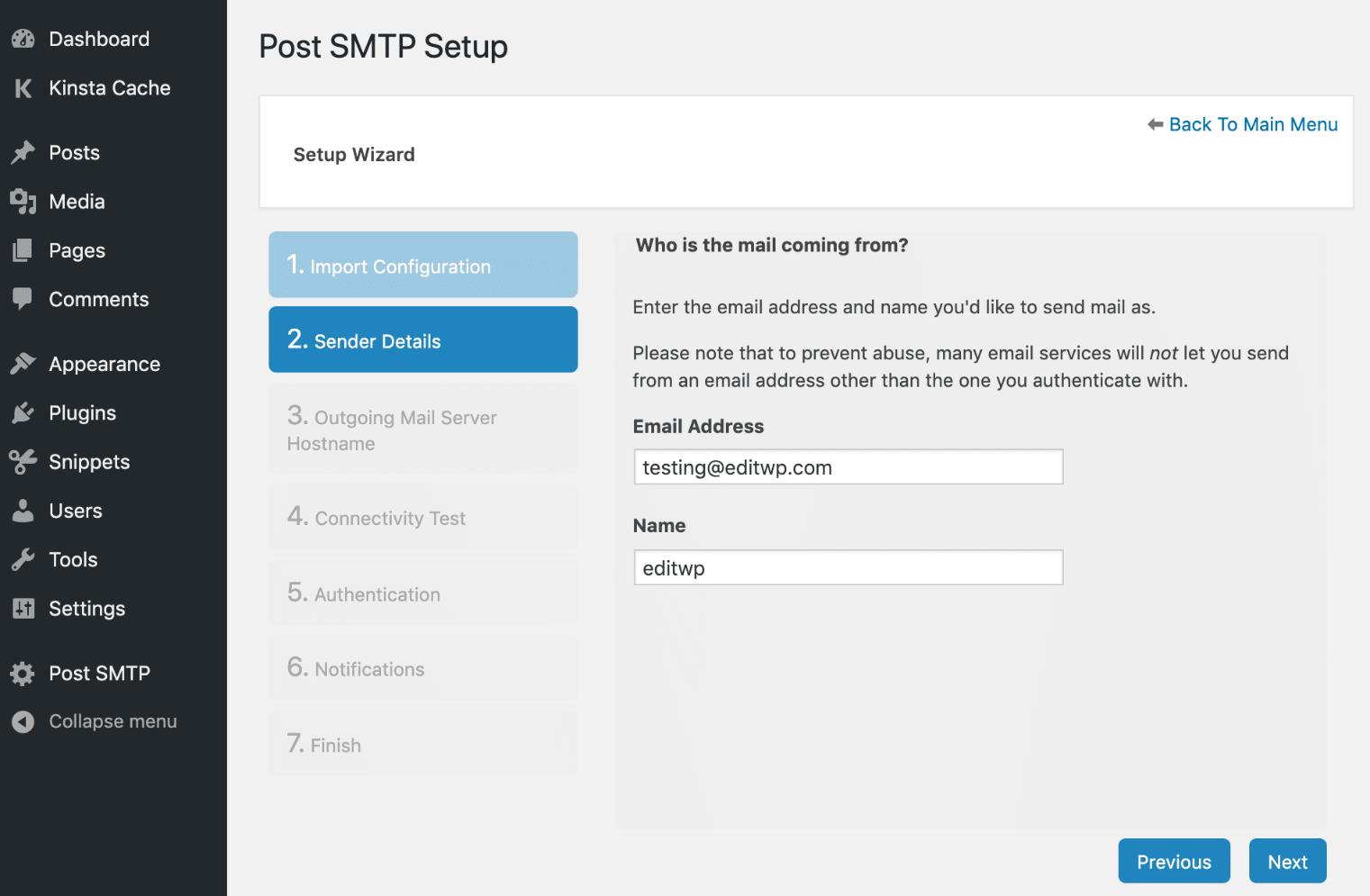 Post SMTP afzender details