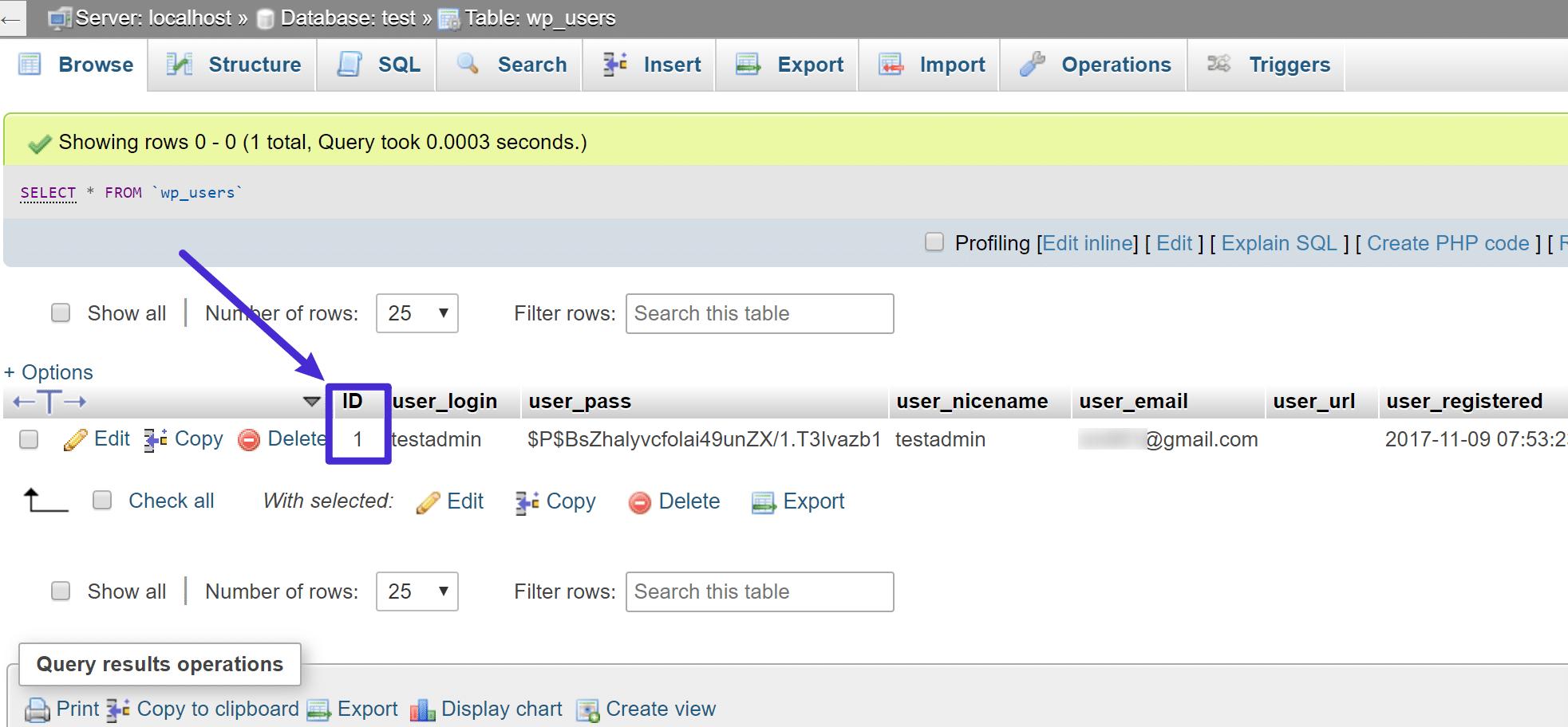De tabel wp_users