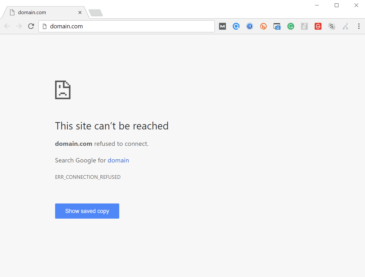 ERR_CONNECTION_REFUSED foutmelding in Google Chrome