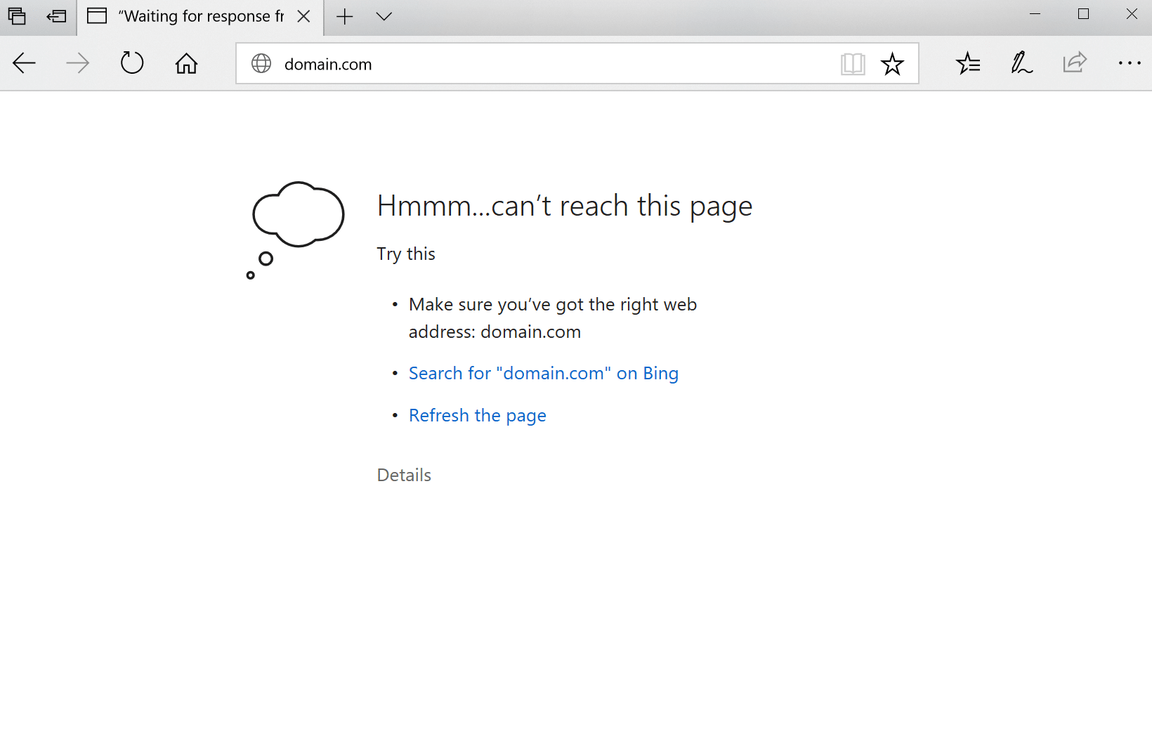 ERR_CONNECTION_REFUSED foutmelding in Microsoft Edge