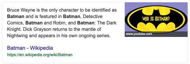 Featured snippet over Batman